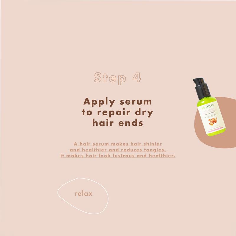 Apply serum to repair dry hair ends
